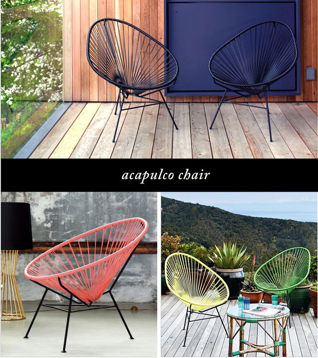 acapulco chairs with iron base and vinyl cord seat