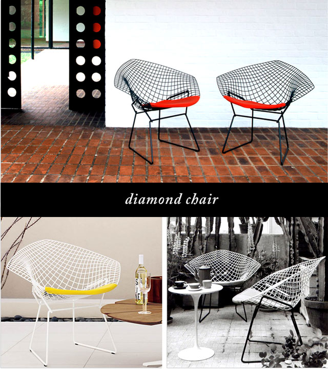 diamond chairs with wire grid base and seat pad