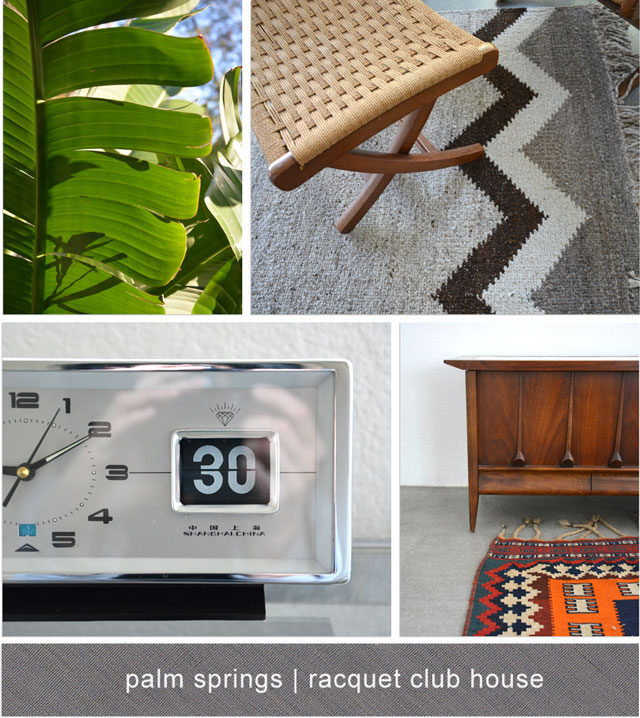 sunlit banana leaf, rug and chair, teak chest, vintage clock