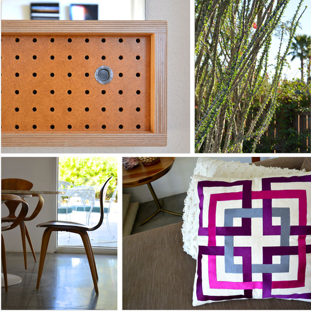 collage of wood cabinet, ocotillo cactus, pillow, chair