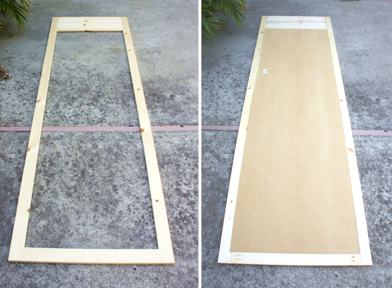 Left: Closet Door Frame (front Side Up), Right: Closet Door Frame Back With  Masonite Backing