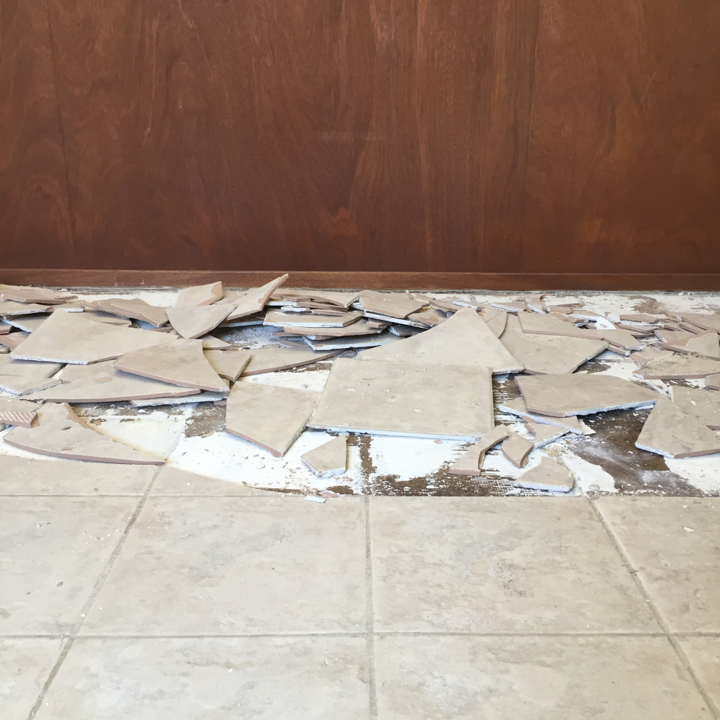 The Old Floor Was A Basic Ceramic Tile With Texture That Made Them Pretty Impossible To Clean Without Lot Of Scrubbing It Everywhere And So We